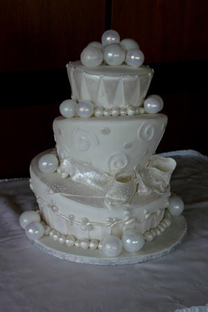 White glitter Whimsical Wedding cake