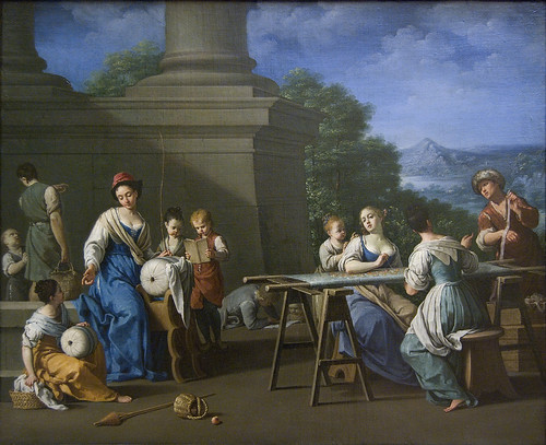 Women Embroidering, with Children