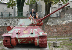 Hubbers o big red Tiger Tank in Belgrade, Yugoslavia