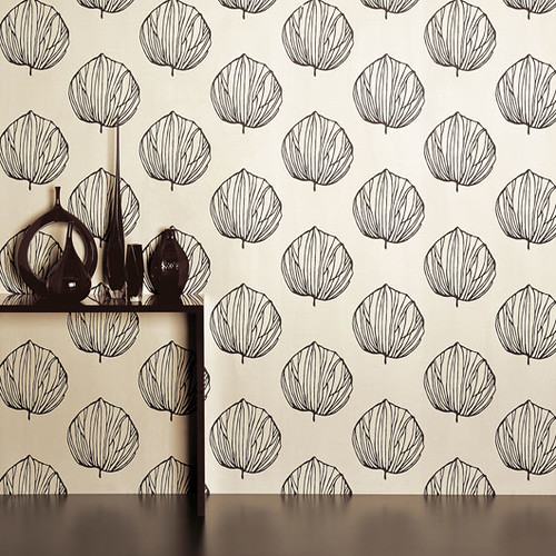 Modern wallpaper: Graphic black & white leaf print by Romo ...
