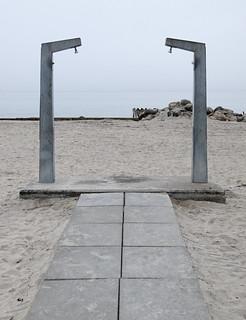 Image of Bellevue Strand near Charlottenlund. mist beach copenhagen denmark shower gate bellevue img1738