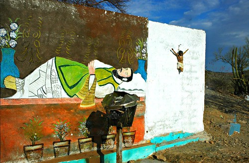 Death of Saints. Religious Folk Art Painting and Crucified Christ statue, Hillside shrine, Hermosilla, Mexico by Wonderlane
