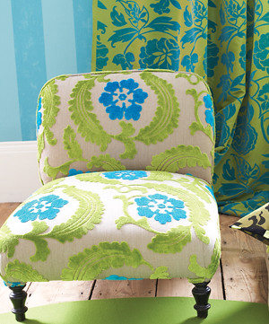 Modern fabric: Blue floral velvet + green leaves + slipper chair