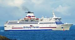 mv Bretagne, Brittany Ferries, off St Malo, Brittany, France