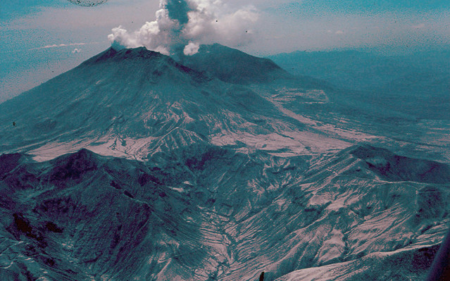 Mount St. Helens: Venting Steam. June 19, 1980. Photo: DNR