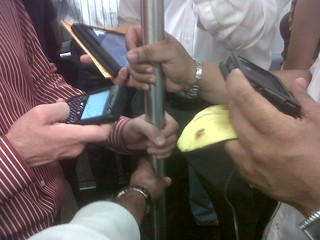 So many gadgets on the subway these days