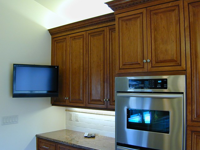 new custom kitchen wall mounted flat screen tv double oven flickr