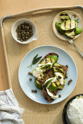 grilled veggie caper toasts