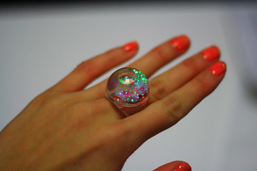MoMA snowglobe ring by pink mochi