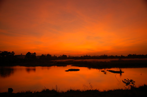sunset red d50 thailand pond nikkor 1755