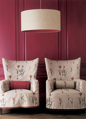 Boldly Modern Traditional Pink Living Room Feminine Floral Wing Chairs