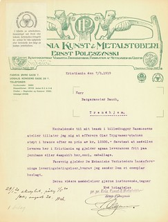 1919.05.07 - Tilbud fra Kristiania Kunst & Metalstøberi vedrørende støping av bronsestatuen til Olav Tryggvason-monumentet