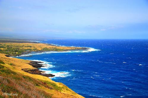 ocean blue sky beach water clouds island blacksand hawaii pacific cyan shore picturesque aloha thebigisland cian overtheexcellence blacksandbeachpark