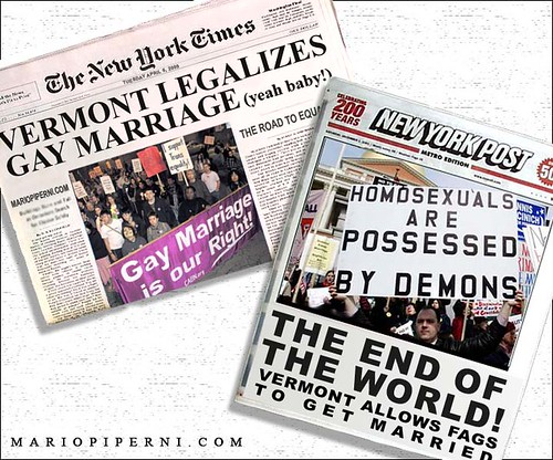 Gay Marriage - Opposing Headlines