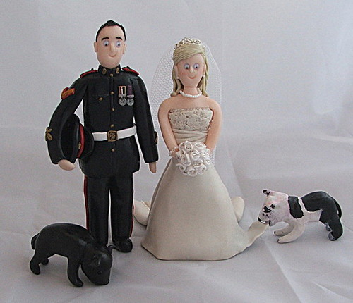 Miliary Wedding Cake Topper This bride wanted her two dogs to be as they