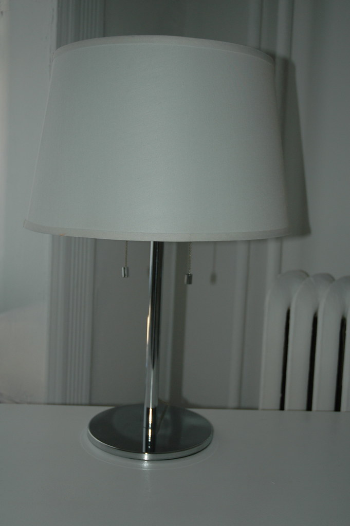 SOLD - Contemporary Chrome Table Lamp with Two Pull-Chains + White Shade - $40