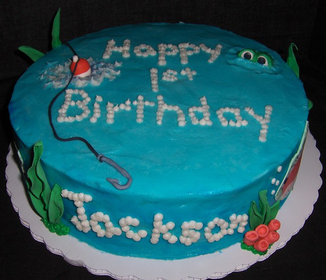 Jackson 39 s 1st birthday fishing cake flickr photo sharing for Fishing first birthday