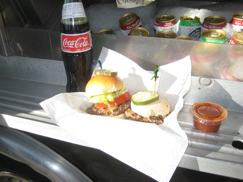 Patty Wagon burgers outside the Eagle Rock Brewery
