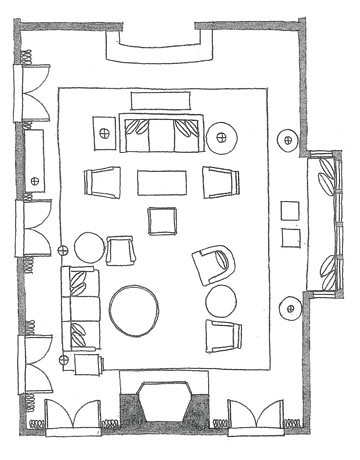 Living room salon floor plan explore la vie en persimmon for Drawing room floor design