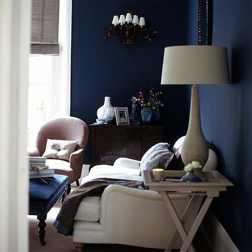 Midnight blue living room white accents
