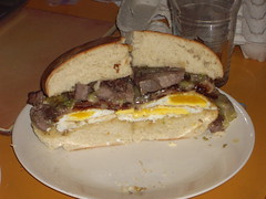 sandwich, meal, lunch, chivito, muffuletta, meat, food, dish, breakfast sandwich, cuisine,
