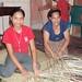 Weaving reed mats - tejiendo petates de tule; El Níspero, Santa Barbara, Honduras