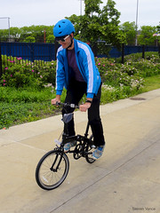 Trying to trackstand on the single-speed folding bike