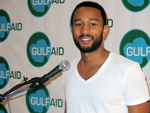 John Legend talks to the press at Gulf Aid