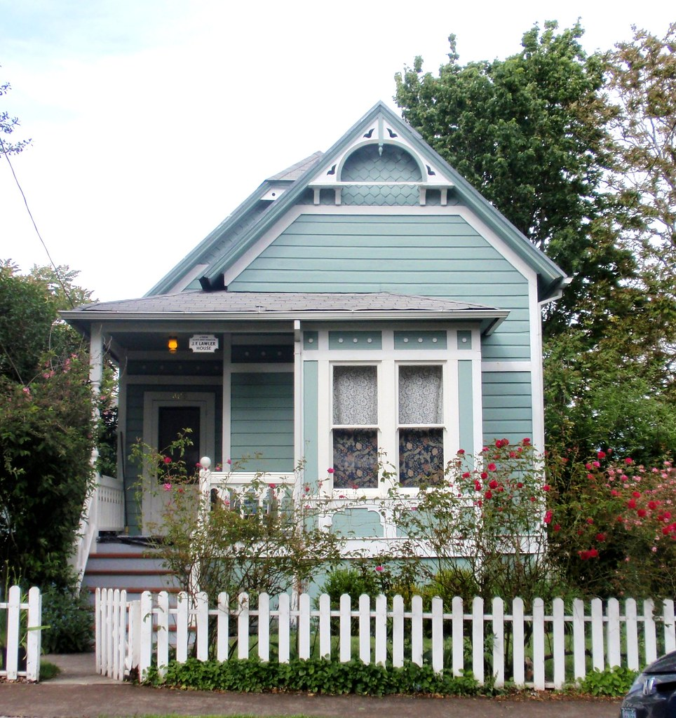 Blue aqua Victorian cottage...J.F. Lawler historic home