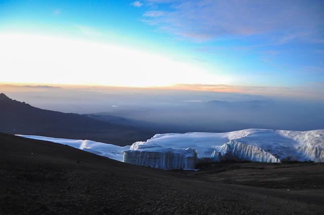 Glacier at the top of the Kilimanjaro at sunrise