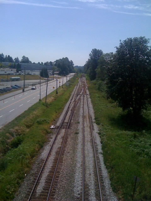 From the pedestrian/cyclist overpass near Sperling-Burnaby Lake Station
