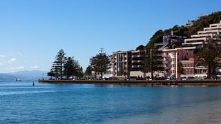 Image of Oriental Beach near Wellington. newzealand sky beach water fountain bluesky wellington orientalbay nzl orientalparade wellingtonwaterfront