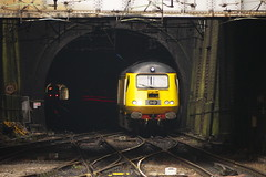 1Q25 06.28 Derby to Derby Network Rail New Measurement Train bursts out of Monument Lane Tunnel and approaches Birmingham New Street on the Stockport to Northampton leg of its diagram. Power car 43013 leading (43062 James Armitt rear). 6th March 2014...