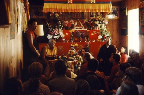 Pema Wangyal Rinpoche and HH Dilgo Khyentse Rinpoche and HH Dagchen Sakya Rinpoche, Tour of HH Dilgo Khyentse Rinpoche at Sakya  with a group of students, Ward St Dharma Center Seattle Washington USA 1976 by Wonderlane