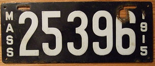 MASSACHUSETTS 1915 LICENSE PLATE