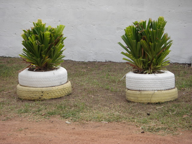 Old, painted tires make great flower pots