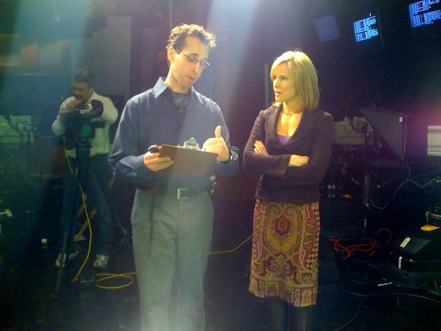 Lisa Hughes in the WBZ-TV studio   Lisa Hughes getting ready