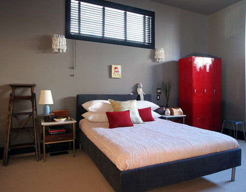 Lori Andrews red black white grey bedroom | Flickr - Photo Sharing!