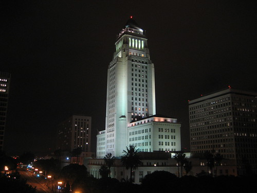 LA City Hall at night