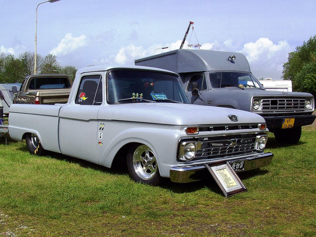 1966 ford f100 pickup truck and 1976 dodge w200