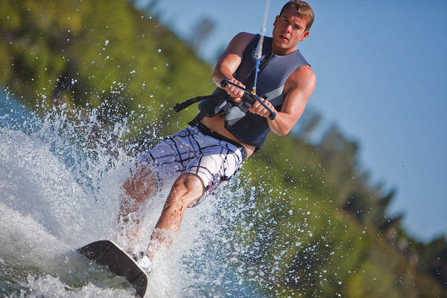 Patrick on the wakeboard