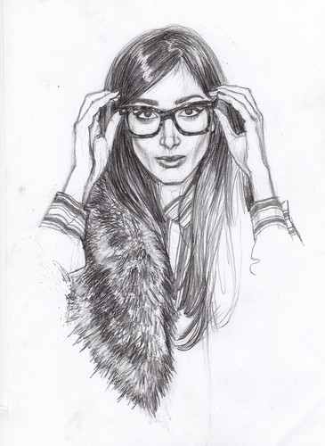 girl in fur with glasses