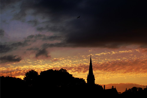 sunset sky ontario canada bird church silhouette clouds fb sony alpha dslr 3x2 a300 porthope fave5 sonydslra300 nowandhere davidfarrant