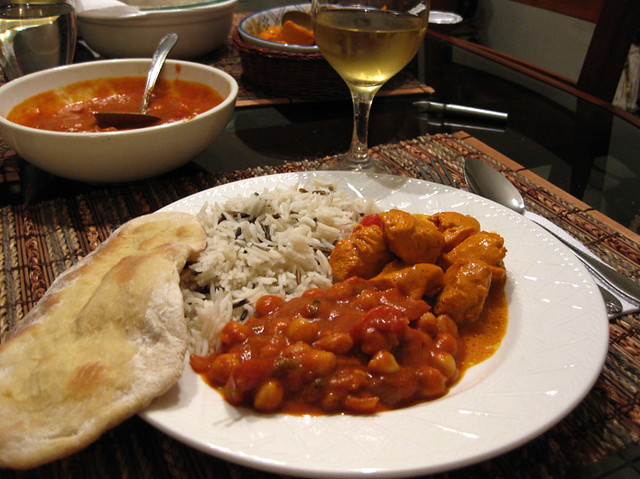 Indian food: Chick Peas, Butter Chicken, Basmati Rice and ...