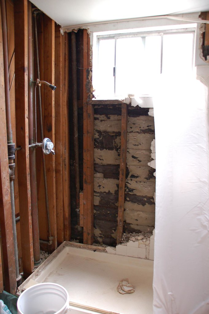 shower wall demolition