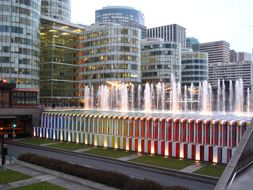 PARIS - La Défense: Evening Lights and Water Springs