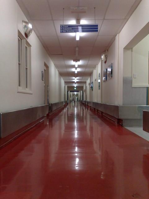 Eerily Quiet Hospital corridor