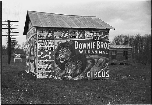 [Posters covering a building near Lynchburg to advertise a Downie Bros. circus] (LOC)
