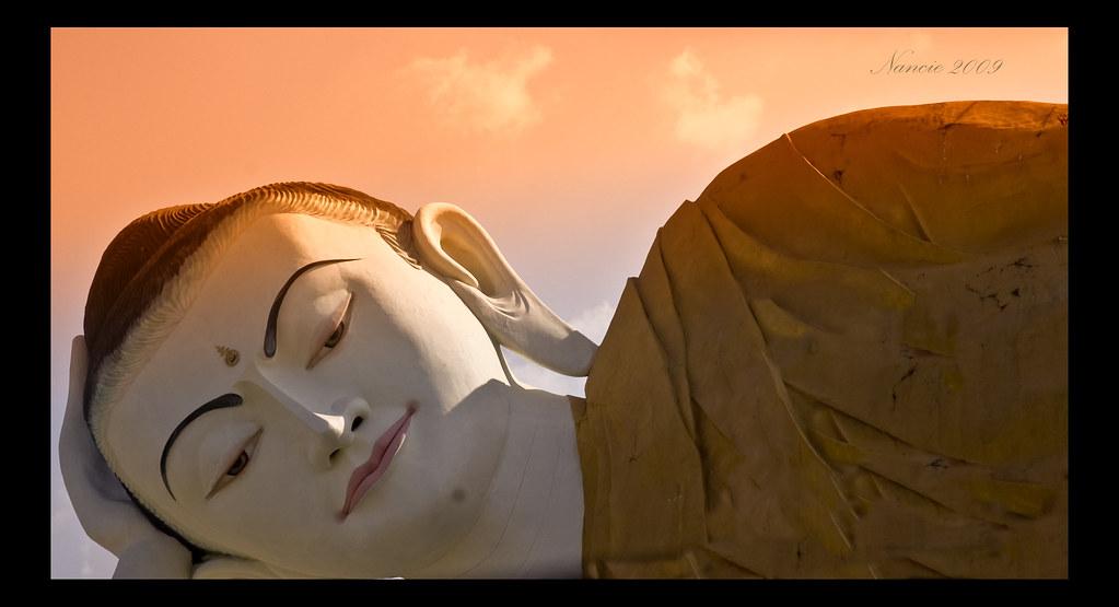 Reclining Buddha's Head, Bago, Myanmar