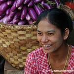 Aubergines and Smiling Burmese Woman - Mandalay, Burma